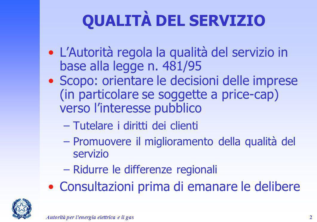 QUALITÀ DEL SERVIZIO L'Autorità regola la qualità del servizio in base alla legge n. 481/95.