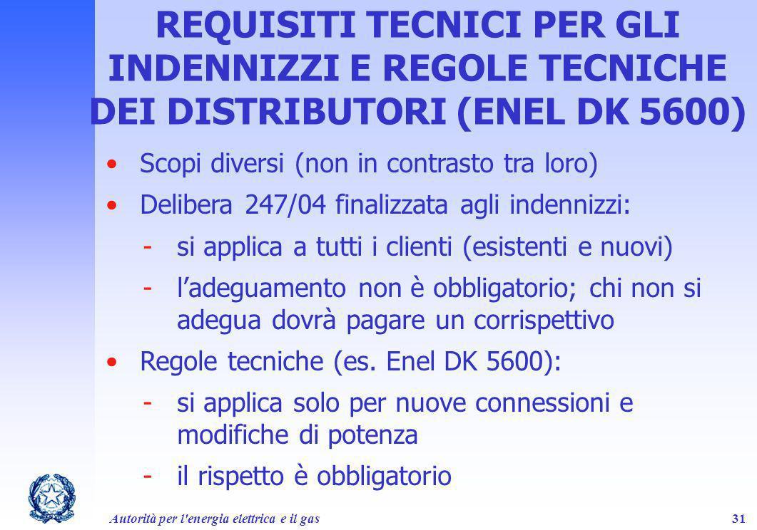 REQUISITI TECNICI PER GLI INDENNIZZI E REGOLE TECNICHE DEI DISTRIBUTORI (ENEL DK 5600)