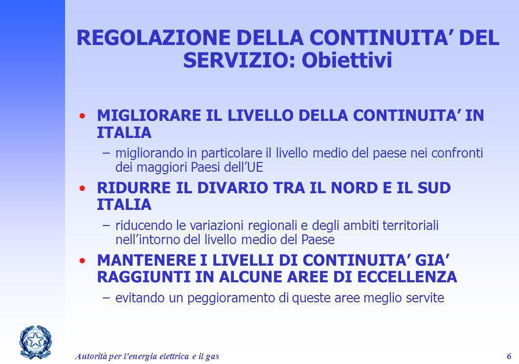 REGOLAZIONE DELLA CONTINUITA' DEL SERVIZIO: Obiettivi