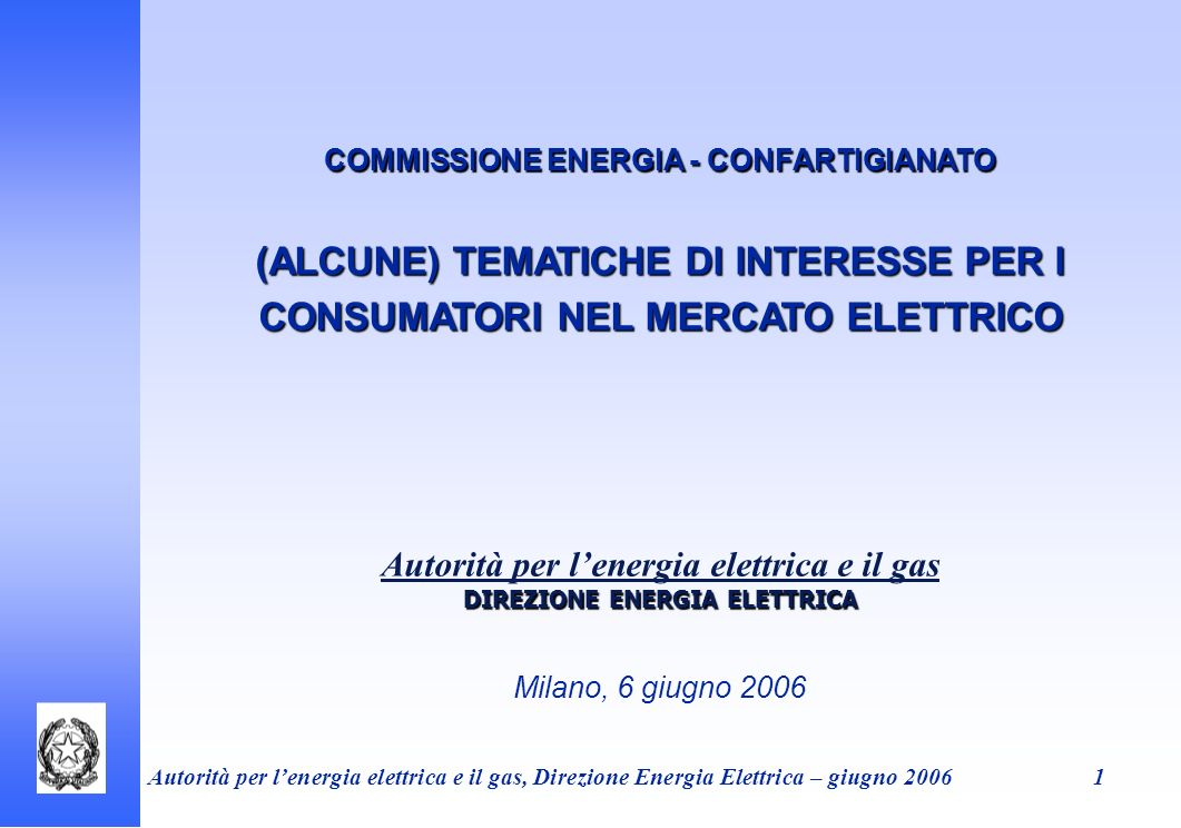 COMMISSIONE ENERGIA - CONFARTIGIANATO