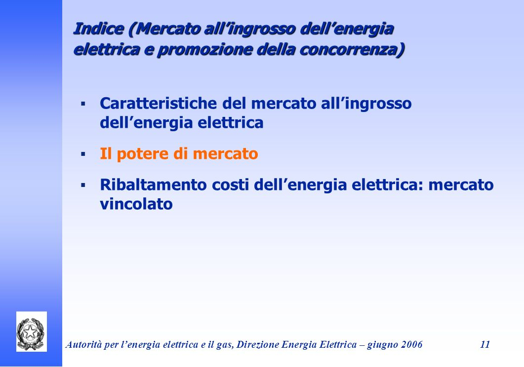 Indice (Mercato all'ingrosso dell'energia elettrica e promozione della concorrenza)