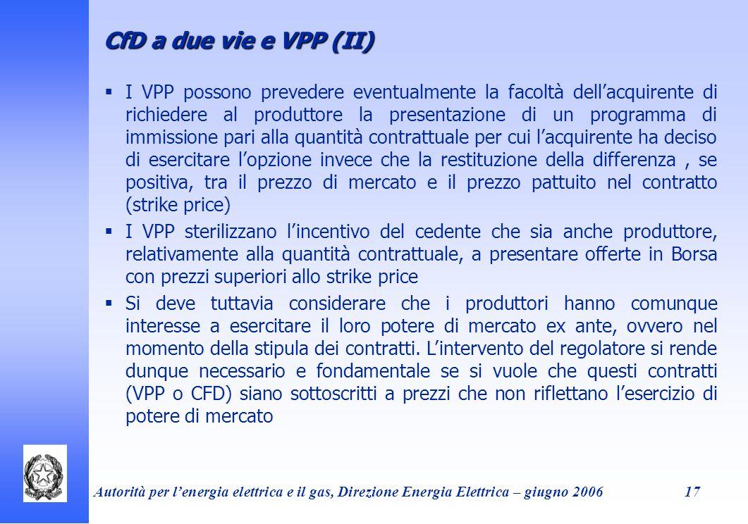 CfD a due vie e VPP (II)