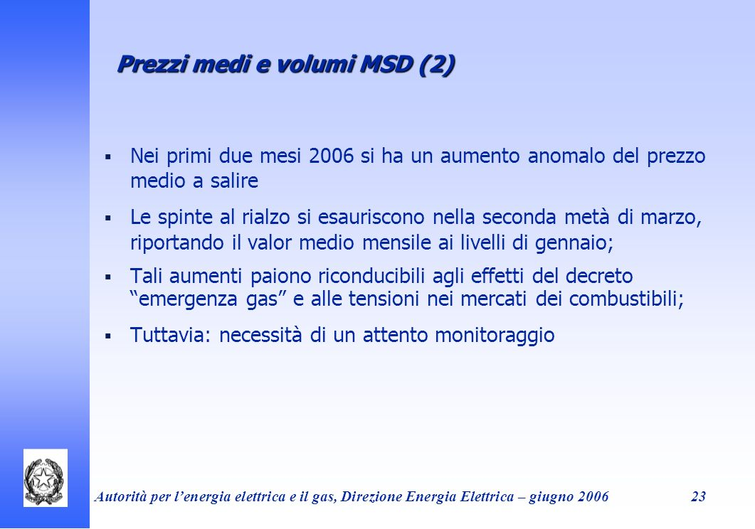 Prezzi medi e volumi MSD (2)