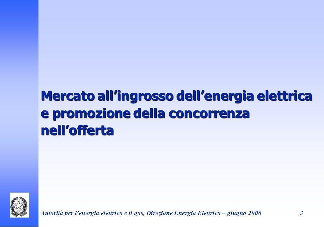 Mercato all'ingrosso dell'energia elettrica e promozione della concorrenza nell'offerta