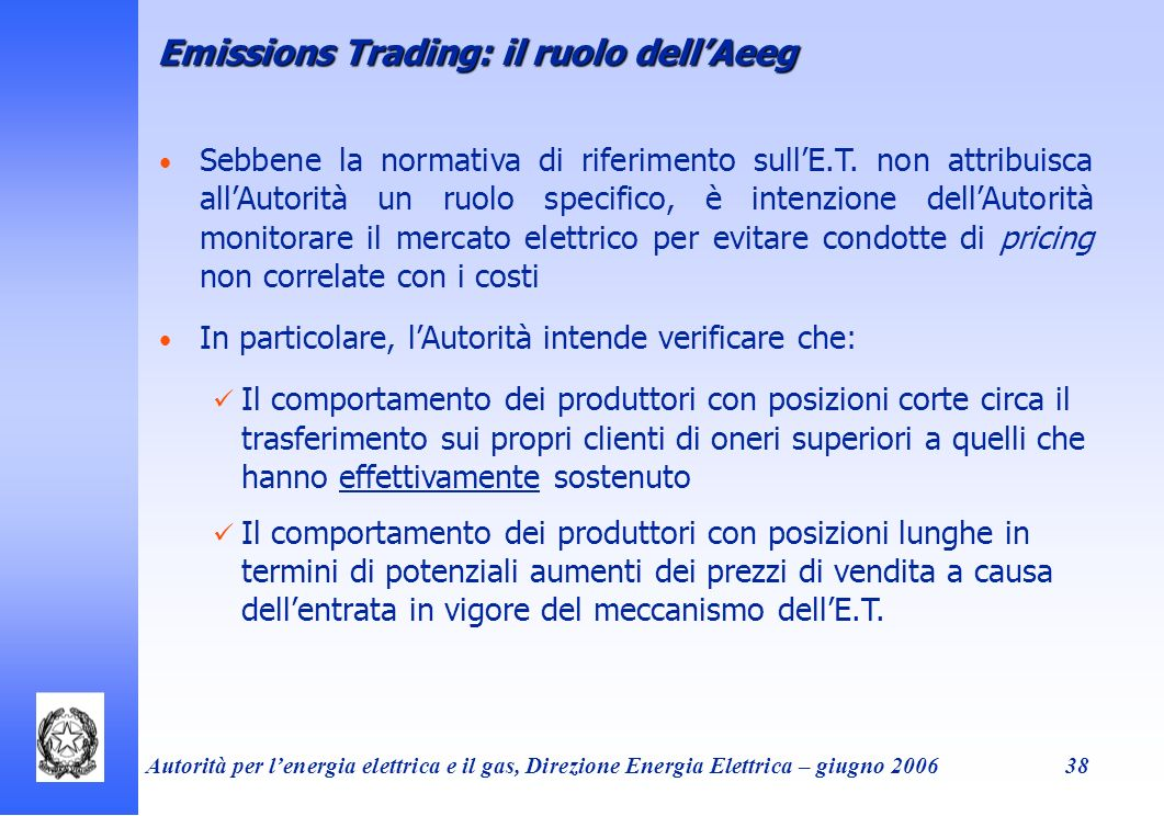 Emissions Trading: il ruolo dell'Aeeg