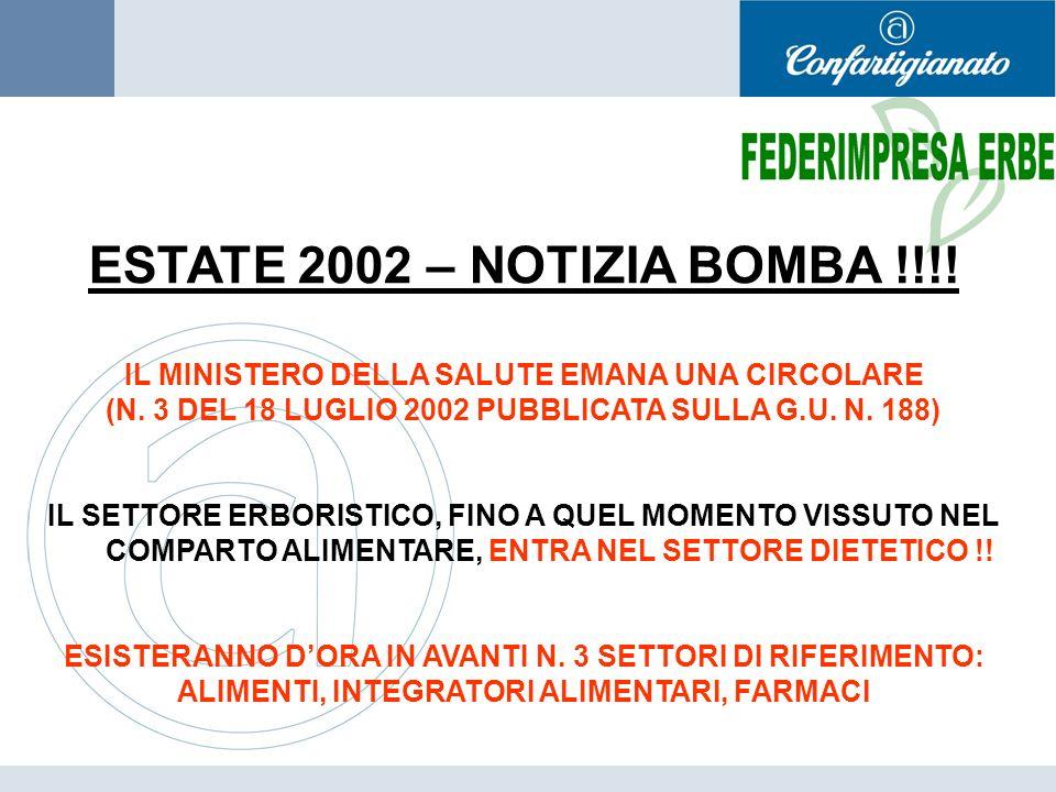 ESTATE 2002 – NOTIZIA BOMBA !!!! IL MINISTERO DELLA SALUTE EMANA UNA CIRCOLARE. (N. 3 DEL 18 LUGLIO 2002 PUBBLICATA SULLA G.U. N. 188)