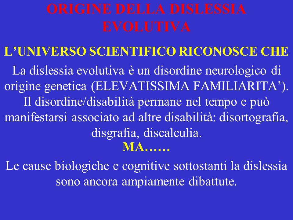 ORIGINE DELLA DISLESSIA EVOLUTIVA