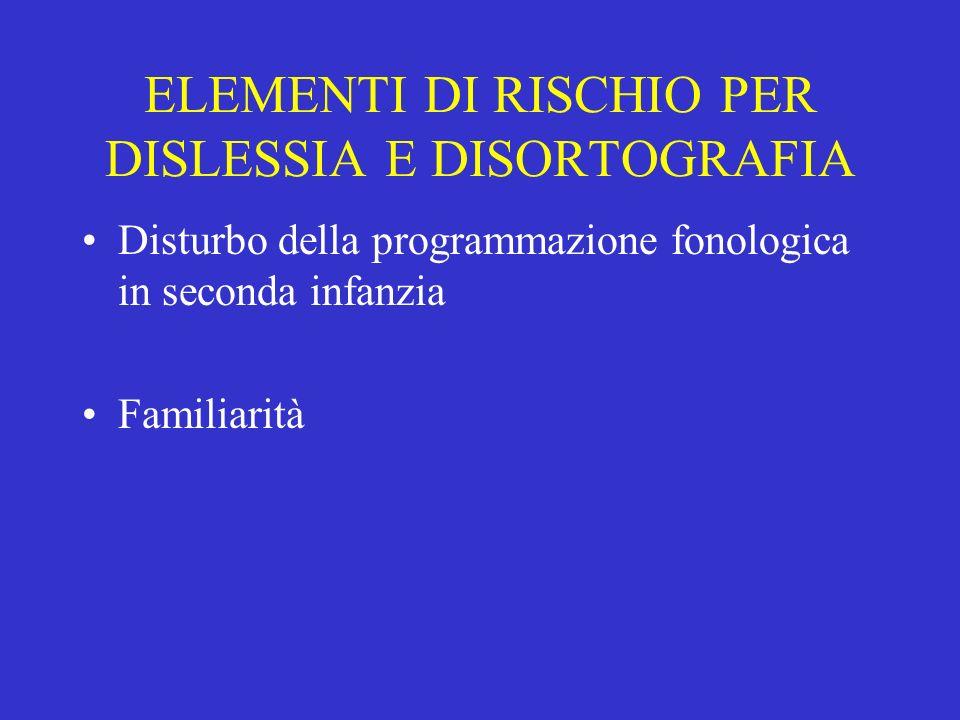 ELEMENTI DI RISCHIO PER DISLESSIA E DISORTOGRAFIA