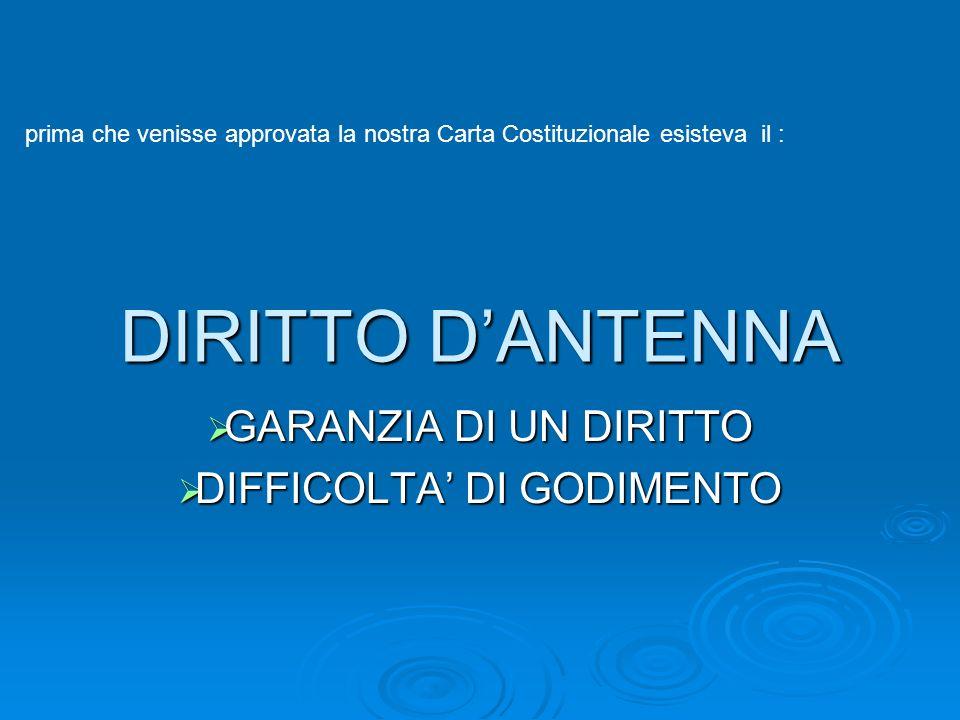 GARANZIA DI UN DIRITTO DIFFICOLTA' DI GODIMENTO
