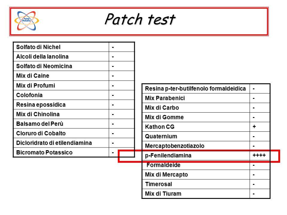 Patch test Solfato di Nichel - Alcoli della lanolina