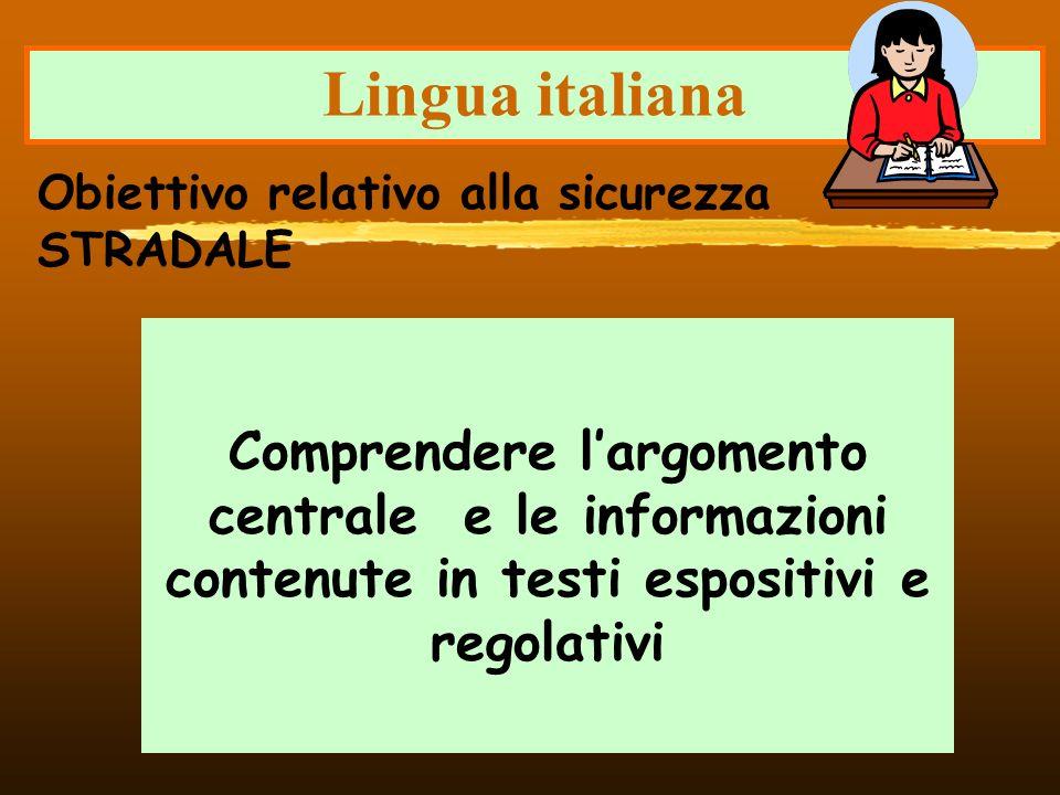 Lingua italianaObiettivo relativo alla sicurezza STRADALE.