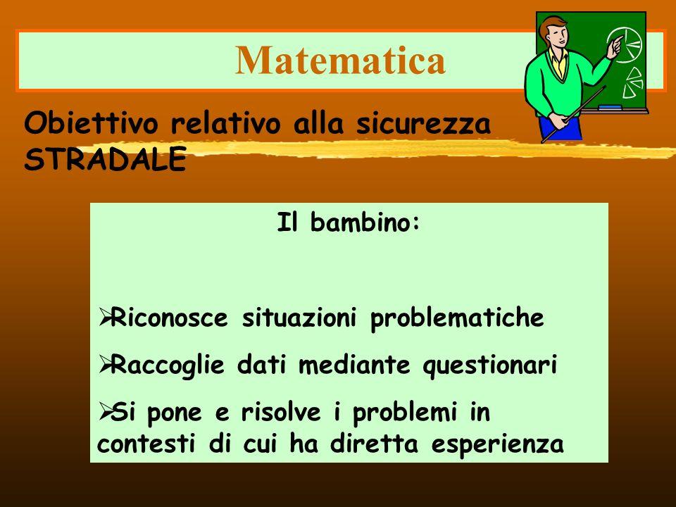 Matematica Obiettivo relativo alla sicurezza STRADALE Il bambino: