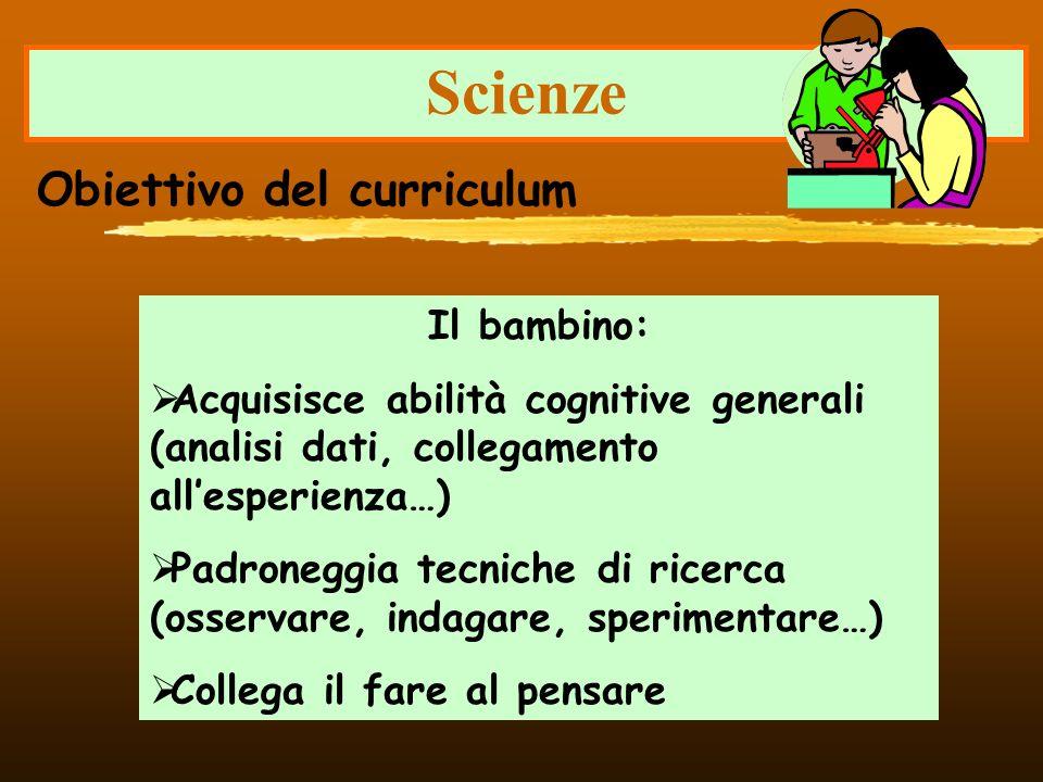 Scienze Obiettivo del curriculum Il bambino: