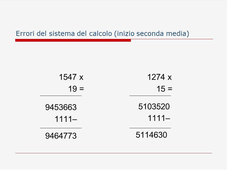 Errori del sistema del calcolo (inizio seconda media)