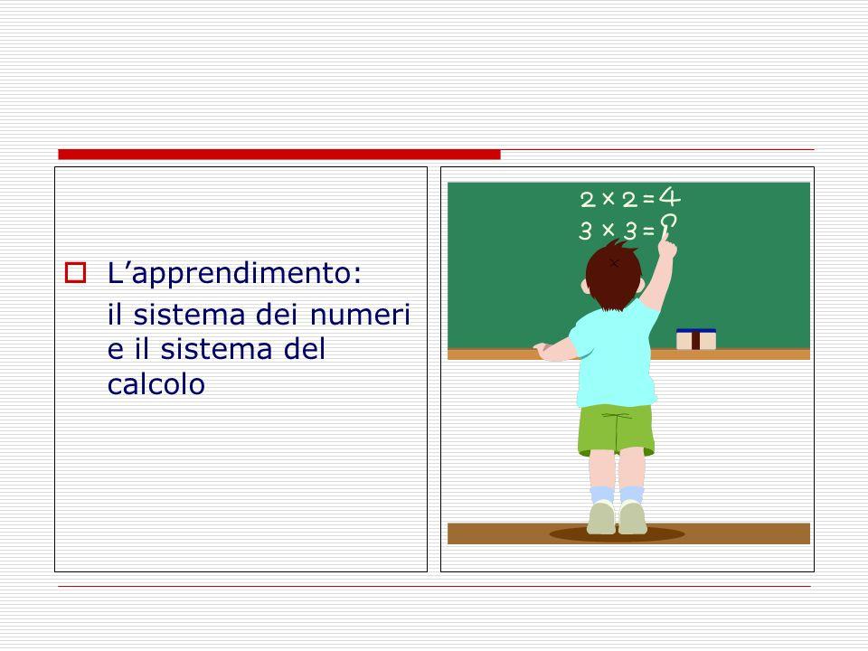 L'apprendimento: il sistema dei numeri e il sistema del calcolo