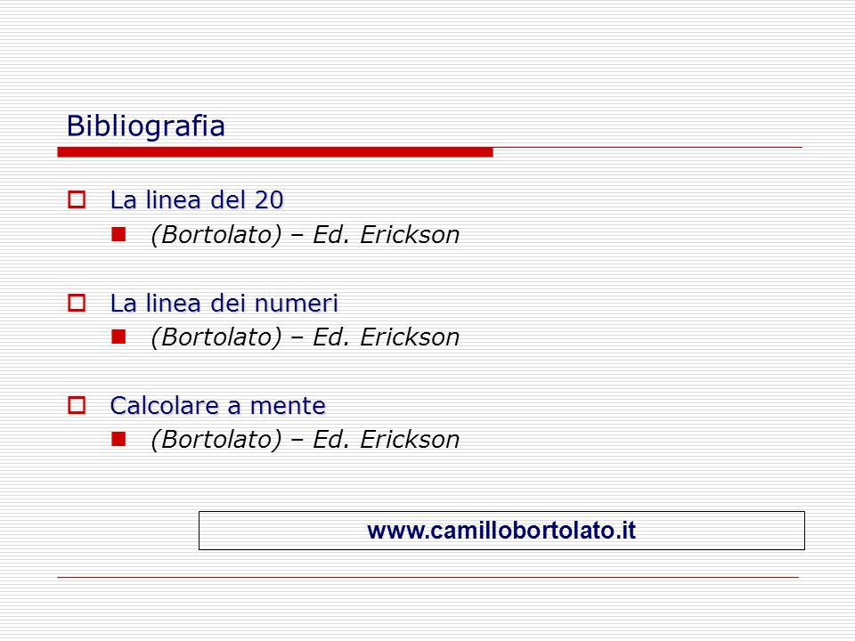 Bibliografia La linea del 20 (Bortolato) – Ed. Erickson