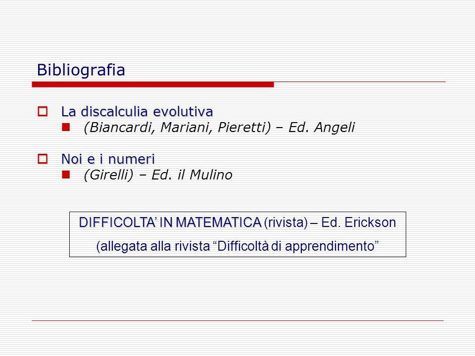 Bibliografia La discalculia evolutiva