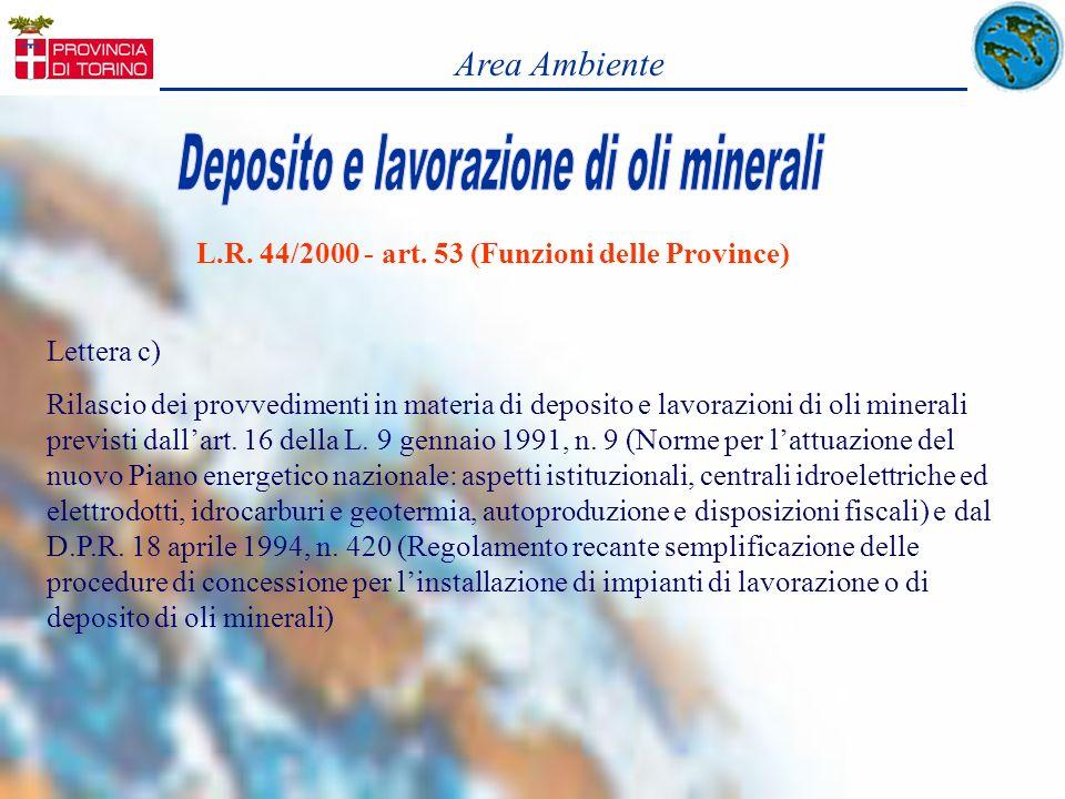 L.R. 44/2000 - art. 53 (Funzioni delle Province)