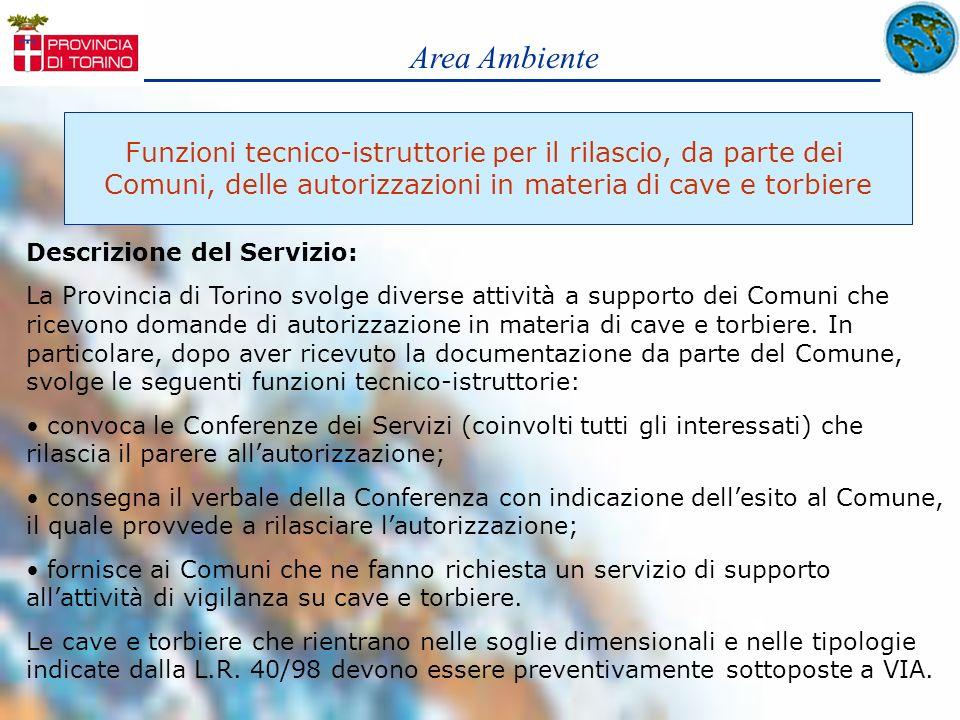 Area Ambiente Funzioni tecnico-istruttorie per il rilascio, da parte dei. Comuni, delle autorizzazioni in materia di cave e torbiere.
