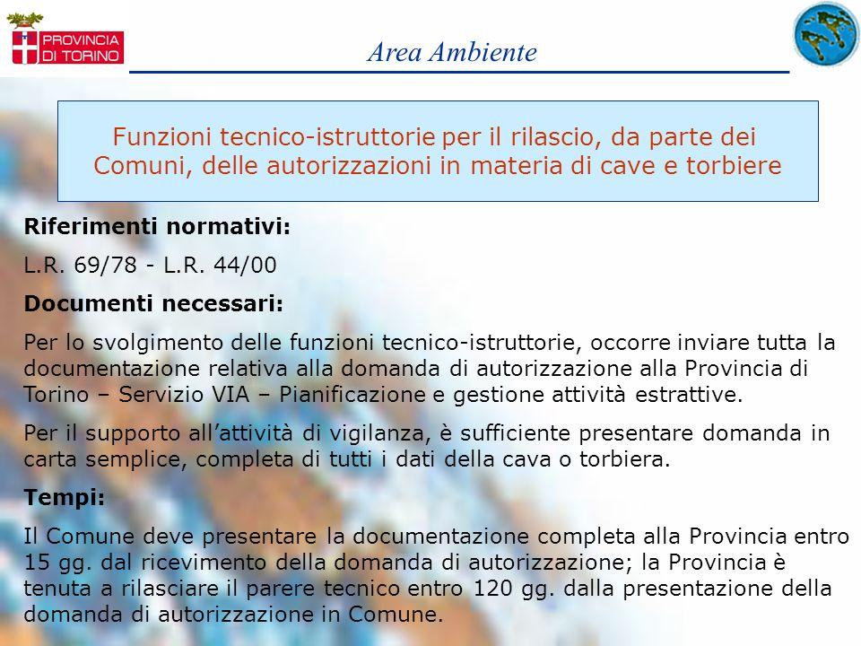 Area AmbienteFunzioni tecnico-istruttorie per il rilascio, da parte dei. Comuni, delle autorizzazioni in materia di cave e torbiere.