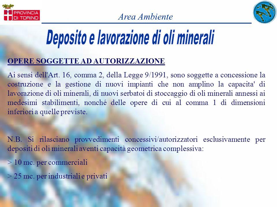 Deposito e lavorazione di oli minerali