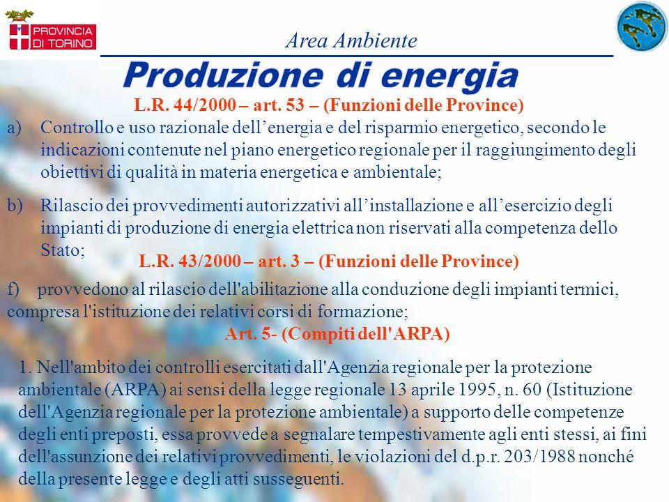 Area Ambiente L.R. 44/2000 – art. 53 – (Funzioni delle Province)