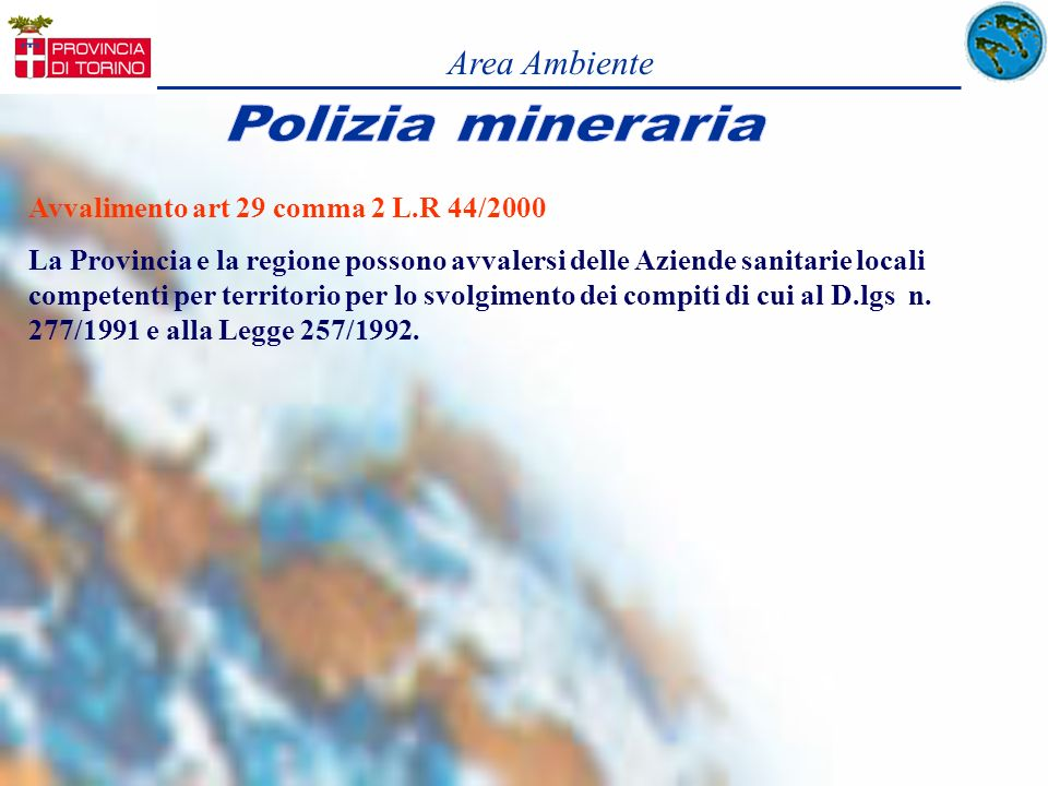 Area Ambiente Avvalimento art 29 comma 2 L.R 44/2000