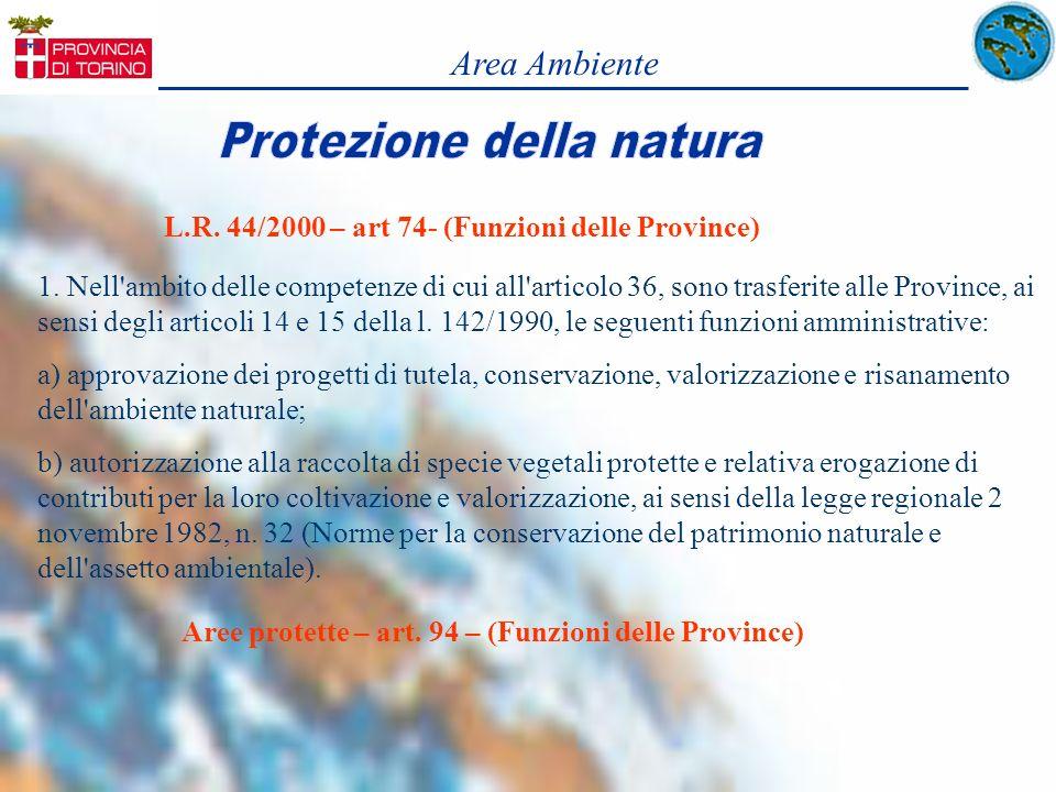 Area Ambiente L.R. 44/2000 – art 74- (Funzioni delle Province)