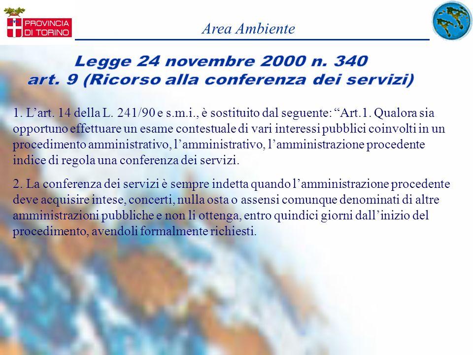 art. 9 (Ricorso alla conferenza dei servizi)