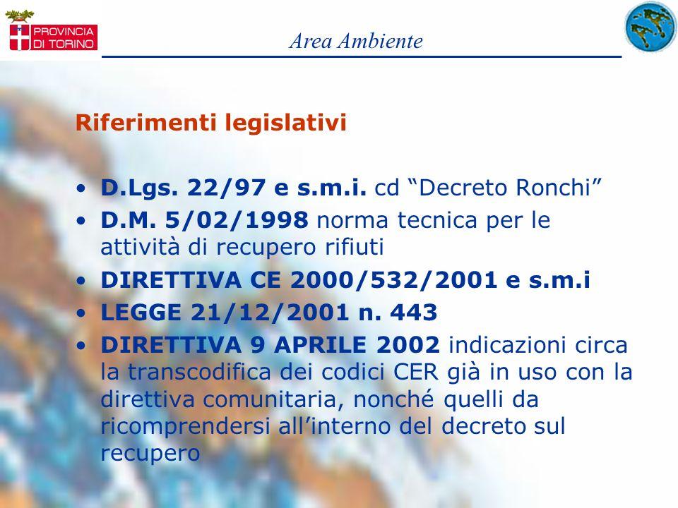 Area Ambiente Riferimenti legislativi. D.Lgs. 22/97 e s.m.i. cd Decreto Ronchi D.M. 5/02/1998 norma tecnica per le attività di recupero rifiuti.