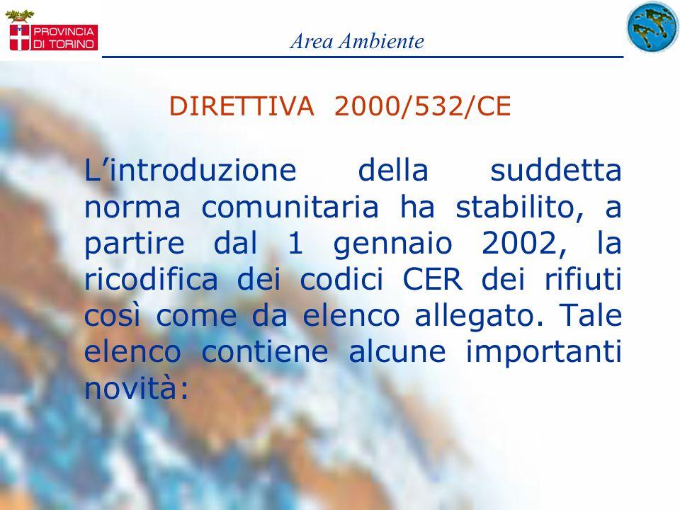Area AmbienteDIRETTIVA 2000/532/CE.