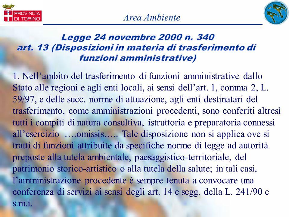 Area AmbienteLegge 24 novembre 2000 n. 340. art. 13 (Disposizioni in materia di trasferimento di. funzioni amministrative)