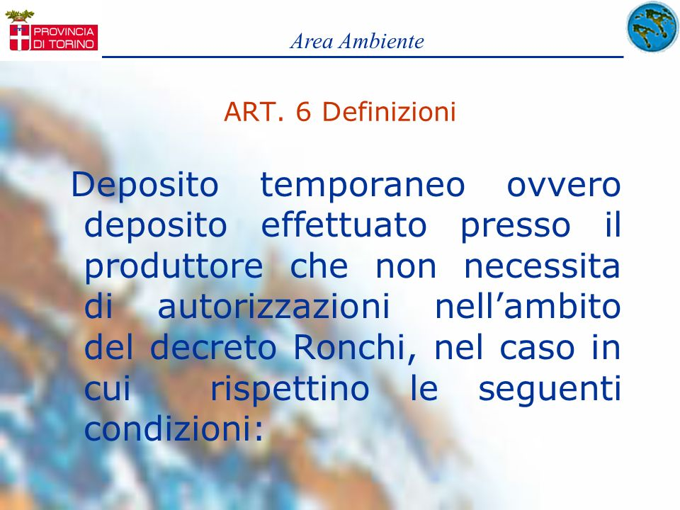 Area Ambiente ART. 6 Definizioni.