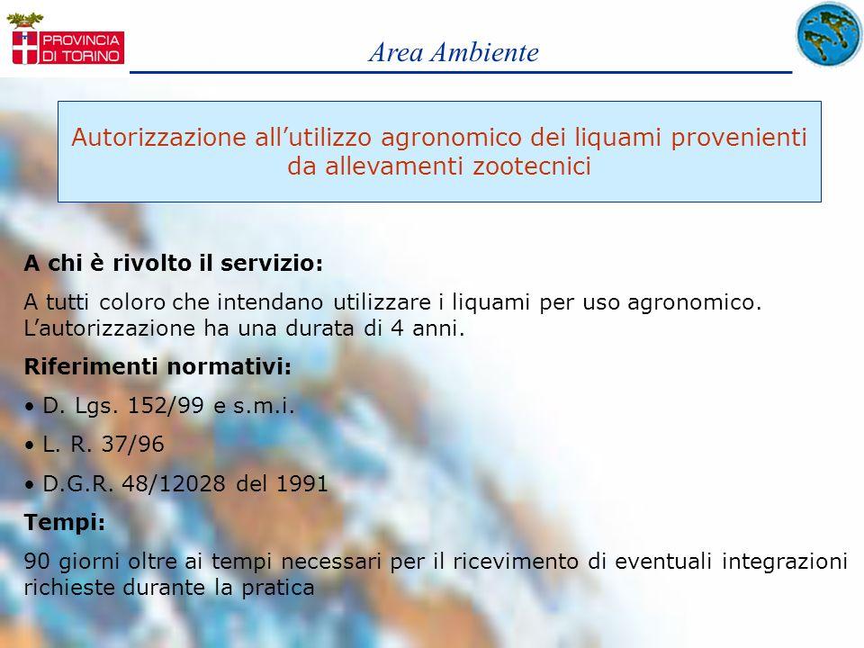 Area Ambiente Autorizzazione all'utilizzo agronomico dei liquami provenienti. da allevamenti zootecnici.