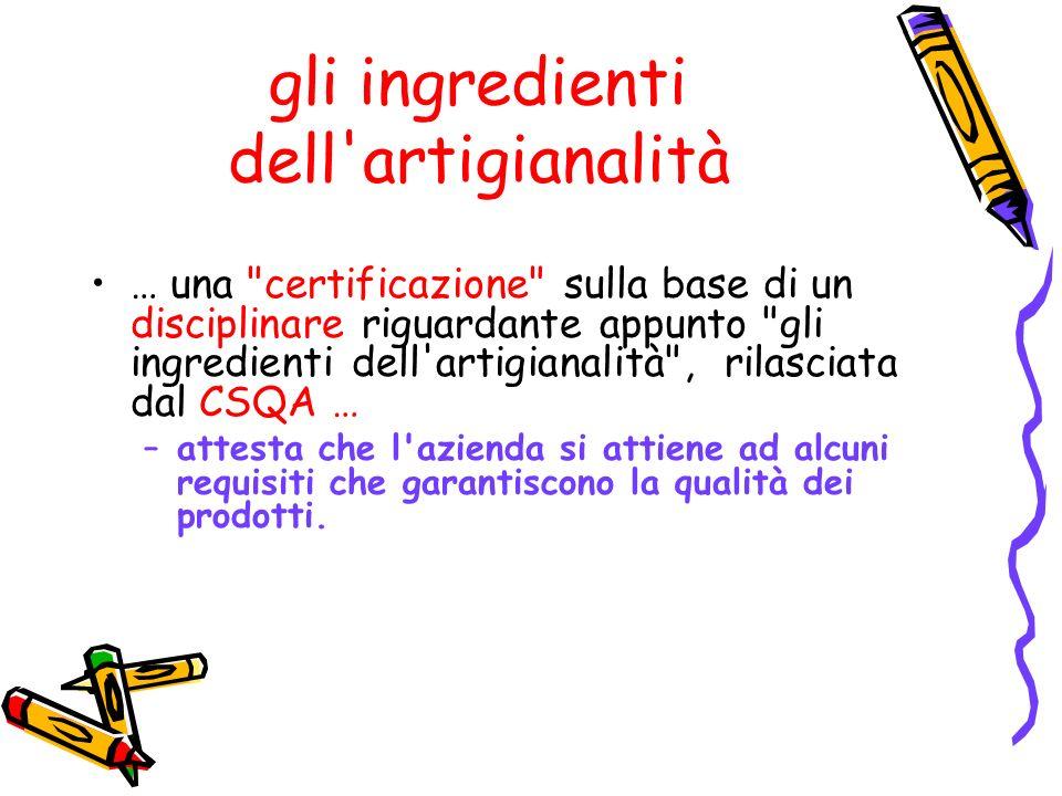 gli ingredienti dell artigianalità