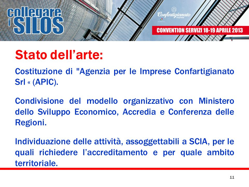 Stato dell'arte: Costituzione di Agenzia per le Imprese Confartigianato Srl « (APIC).
