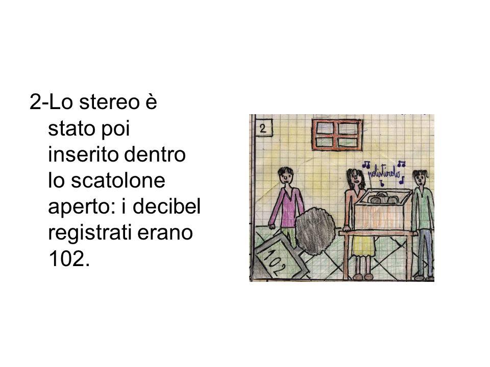 2-Lo stereo è stato poi inserito dentro lo scatolone aperto: i decibel registrati erano 102.