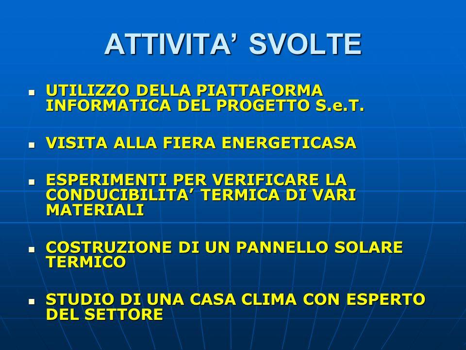 ATTIVITA' SVOLTE UTILIZZO DELLA PIATTAFORMA INFORMATICA DEL PROGETTO S.e.T. VISITA ALLA FIERA ENERGETICASA.