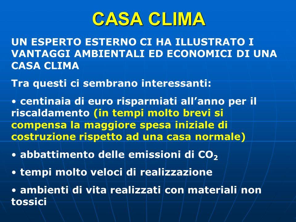 CASA CLIMA UN ESPERTO ESTERNO CI HA ILLUSTRATO I VANTAGGI AMBIENTALI ED ECONOMICI DI UNA CASA CLIMA.