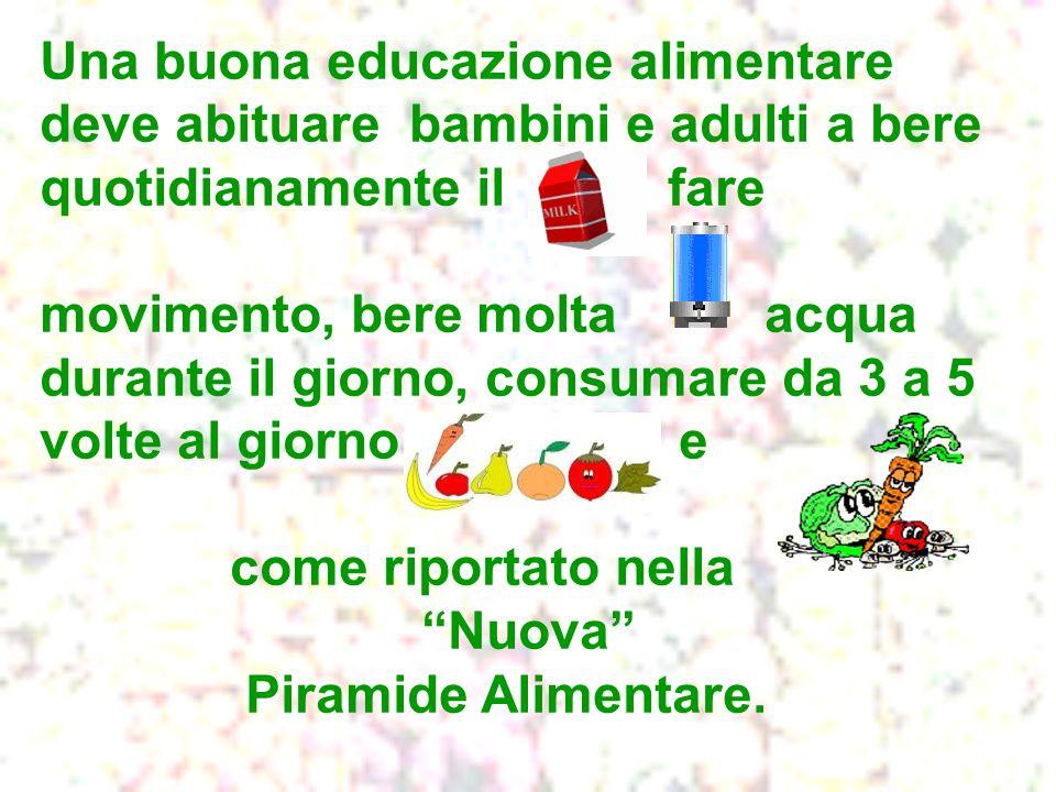 Una buona educazione alimentare deve abituare bambini e adulti a bere quotidianamente il fare