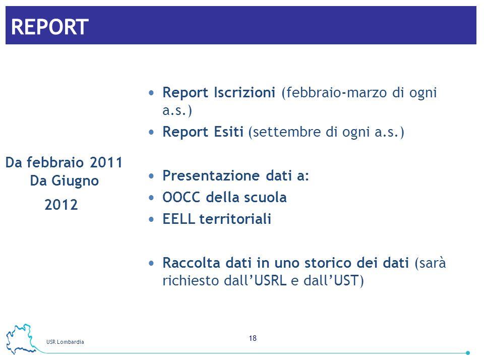 REPORT Report Iscrizioni (febbraio-marzo di ogni a.s.)