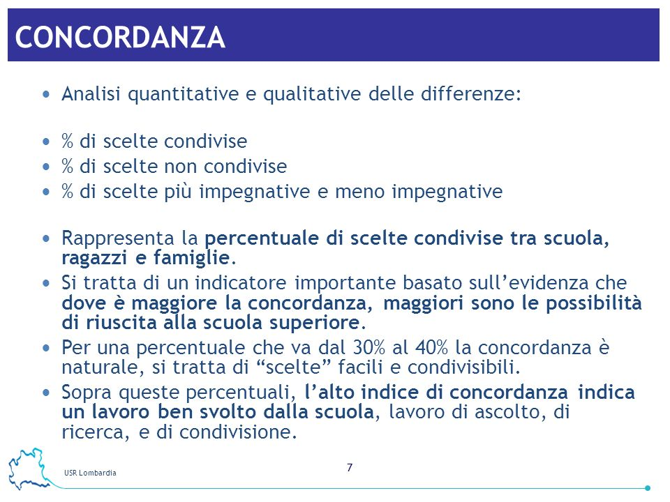 CONCORDANZA Analisi quantitative e qualitative delle differenze: