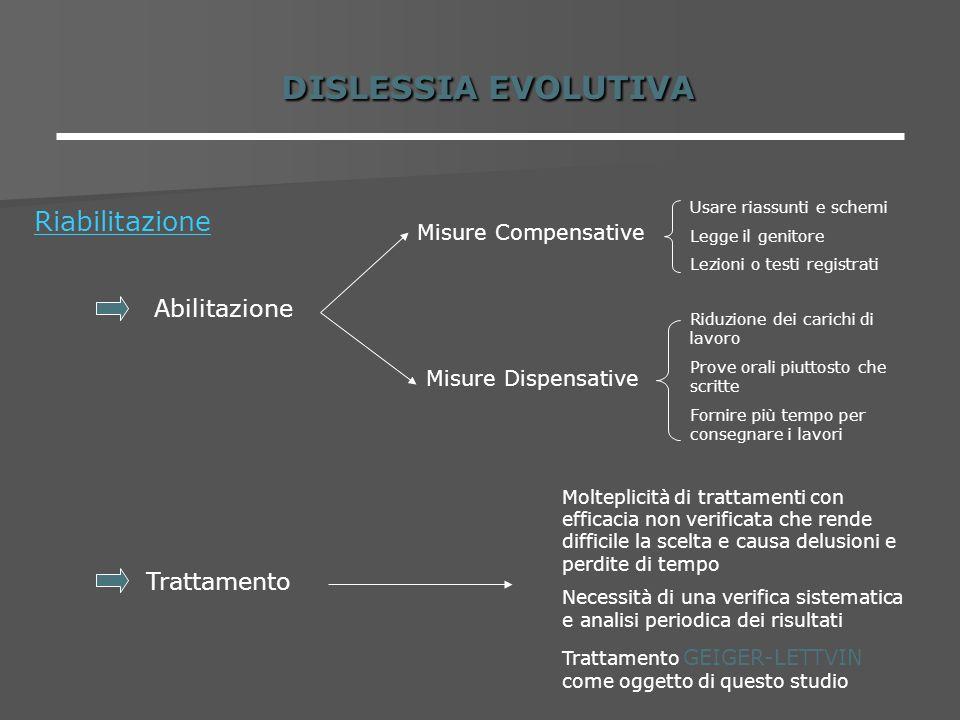 DISLESSIA EVOLUTIVA Riabilitazione Abilitazione Trattamento