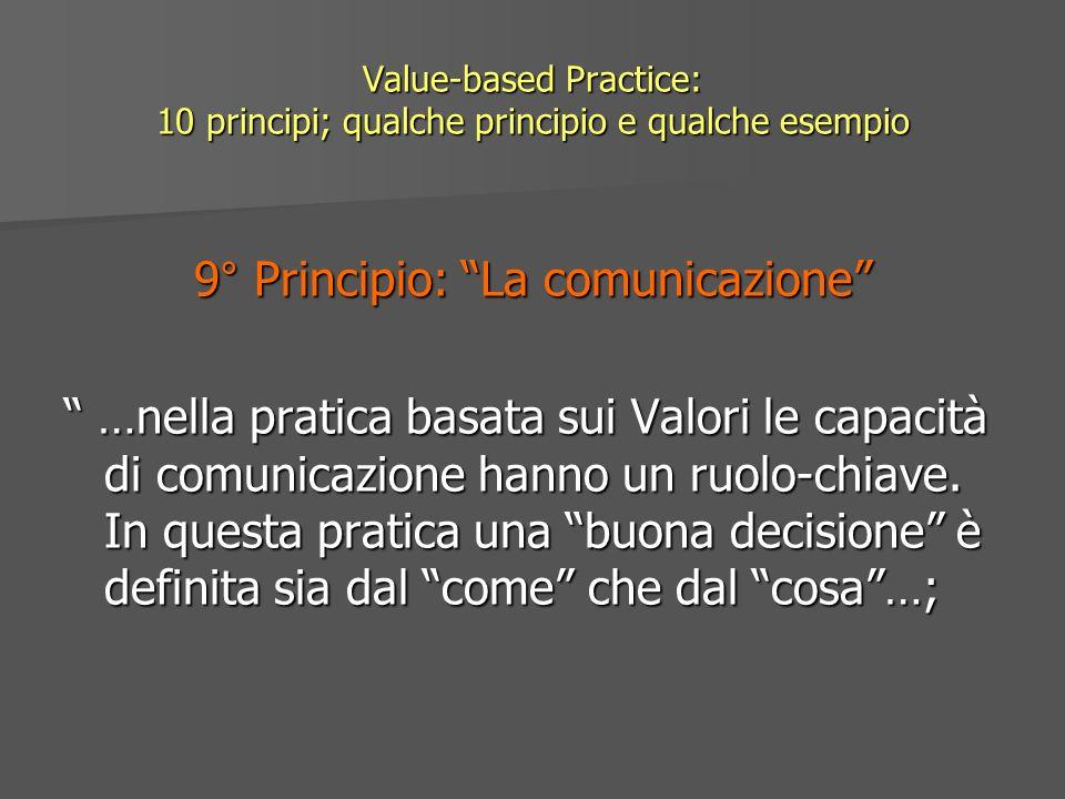 Value-based Practice: 10 principi; qualche principio e qualche esempio