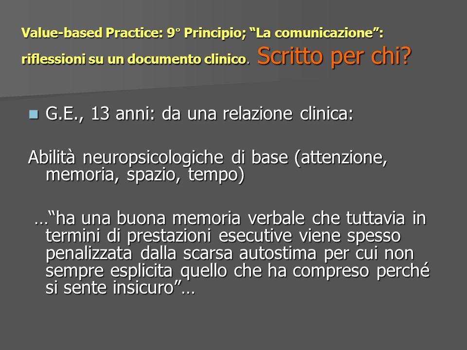G.E., 13 anni: da una relazione clinica: