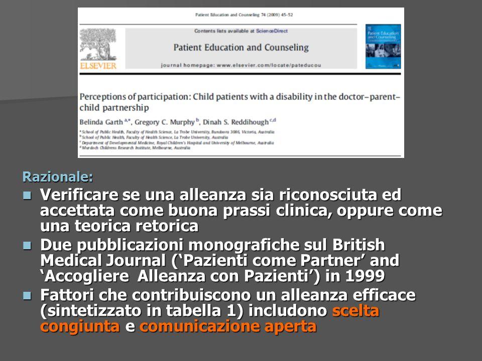 Razionale: Verificare se una alleanza sia riconosciuta ed accettata come buona prassi clinica, oppure come una teorica retorica.