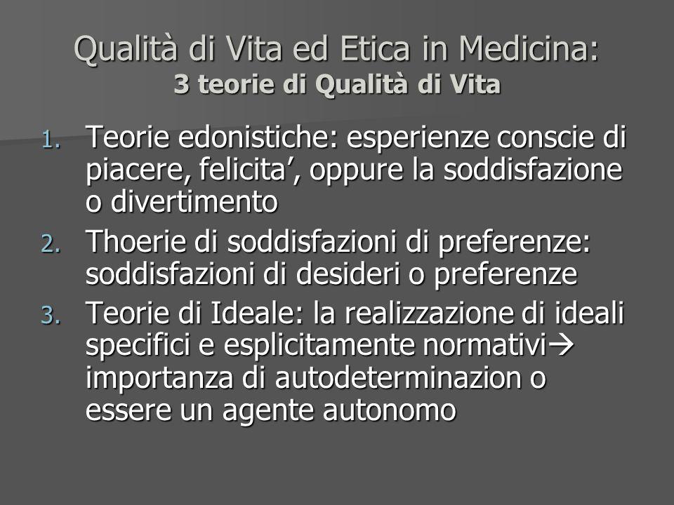 Qualità di Vita ed Etica in Medicina: 3 teorie di Qualità di Vita