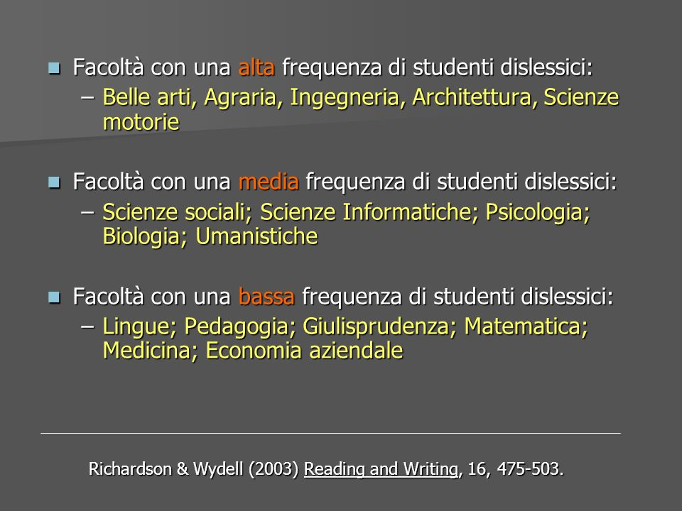 Richardson & Wydell (2003) Reading and Writing, 16, 475-503.