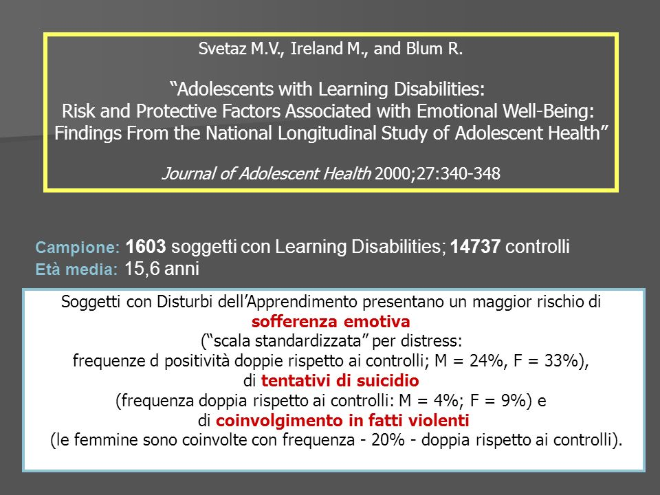 Adolescents with Learning Disabilities:
