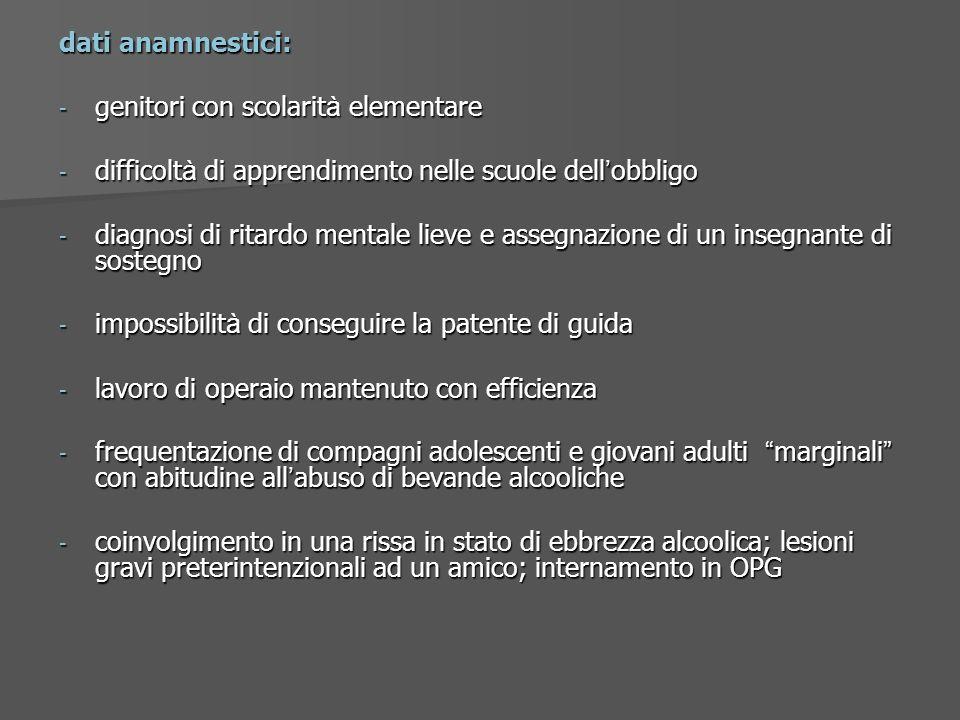 dati anamnestici:genitori con scolarità elementare. difficoltà di apprendimento nelle scuole dell'obbligo.